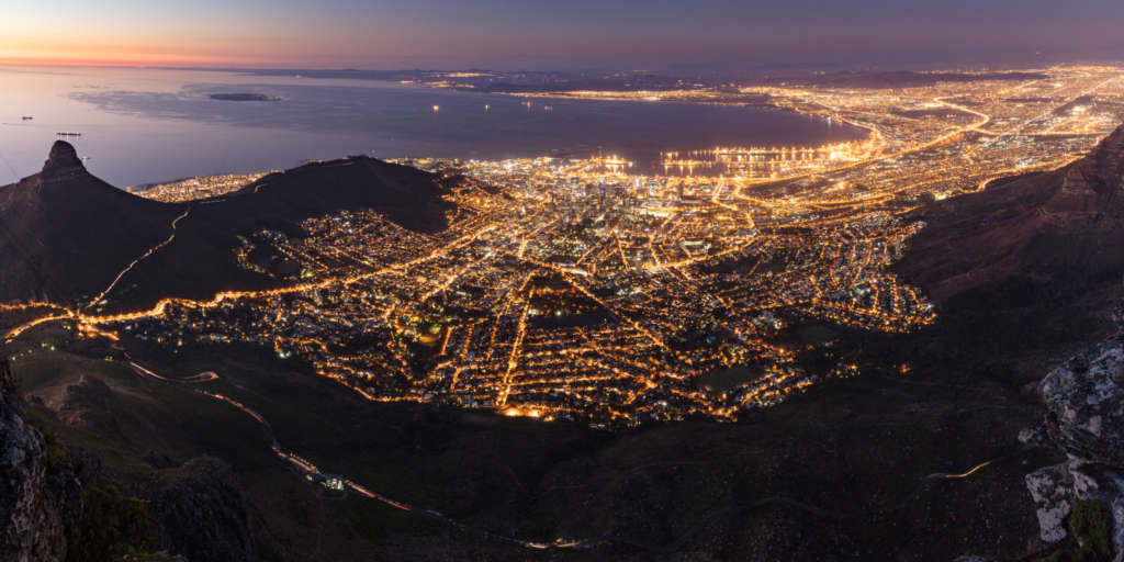 Cape Town at night from Table Mt
