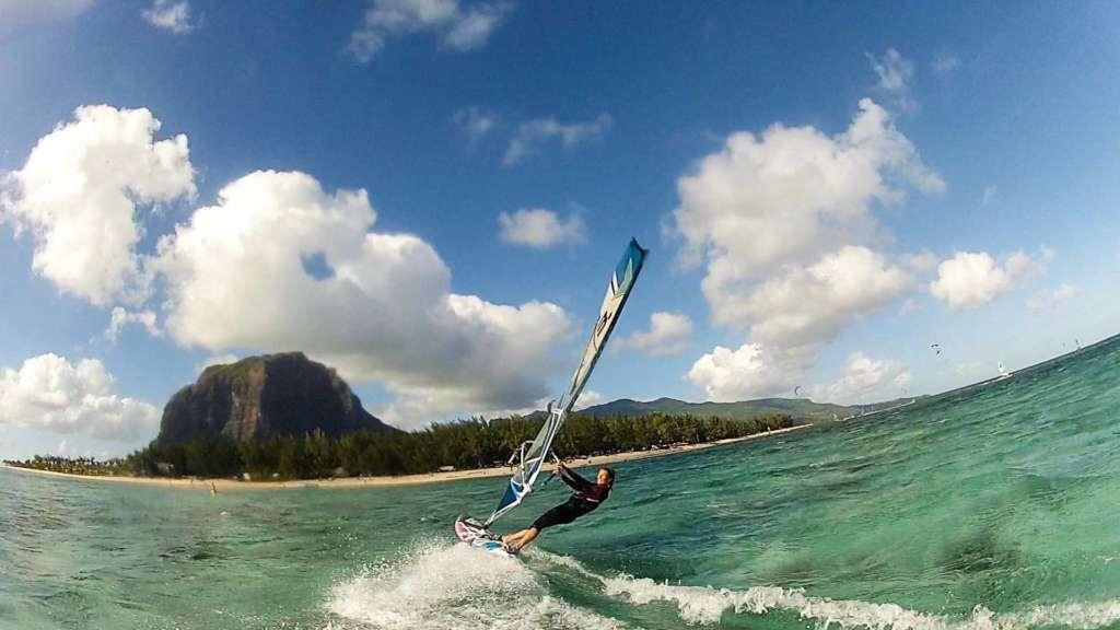 Windsurfing at Le Morne, Mauritius