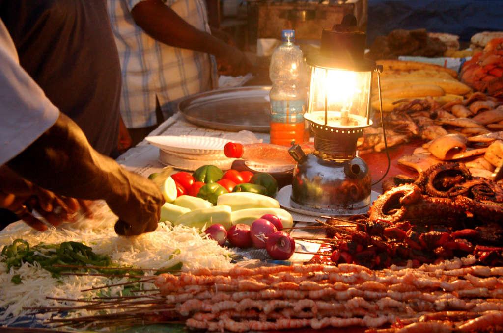 Food at the night market in Stone Town, Zanzibar