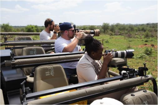 People on safari taking photos from an open-top vehicle