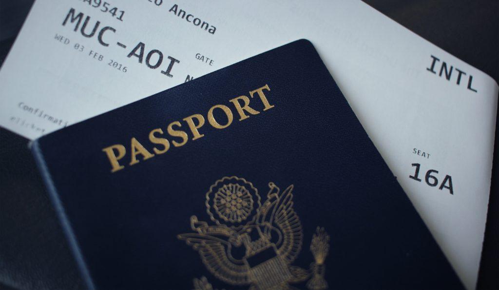 Passport and plane ticket